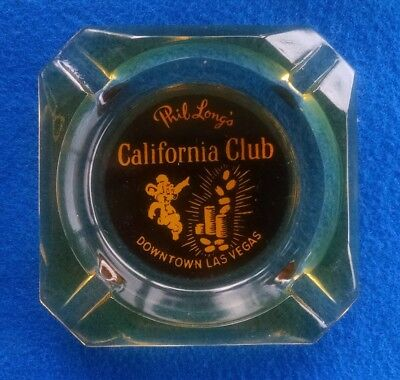Phil Long's California Club Casino Ashtray - Downtown Las Vegas - Amber Glass