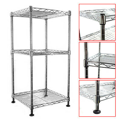 64x30x30cm Real Chrome Wire Rack Metal Steel Kitchen Garage Shelving Racks UKED