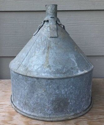 Old Vintage galvanized Lock-on Funnel ~ Industrial Lamp Shade Barn Farm Decor