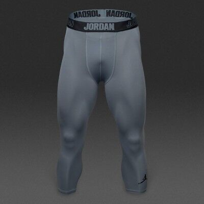 15438e970b93ff Nike Jordan AJ All Season Compression 3 4 Men s Running Training Tights Grey