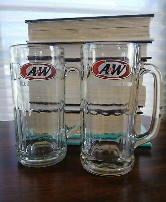 """Set Of 2 Large A&W Root Beer Mugs Clear Glass Orange Brown Logo Heavy 7"""" Steins"""