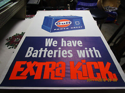 1967 Original Gulf Oil Battery Advertising Poster Great Condition