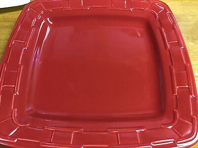 Longaberger SOFT SQUARE DINNER PLATE PAPRIKA RED 11 Inches WOVEN TRADITIONS