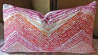 Kravet Couture 'Freshly Painted' Pinks Oranges White Modern Flamestitch Pillow!