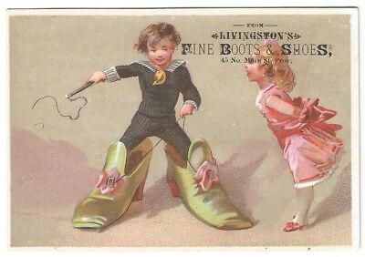 Livingston's Fine Boots & Shoes Trade Card Providence RI-1880s-FREE USA Shipping