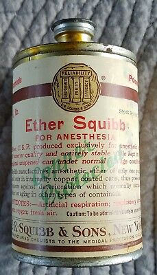 Antique Medical Can of Squibb Ether Anesthesia