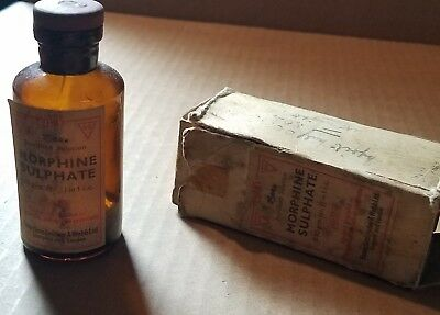Antique Medicine Bottle Morphine Sulphate with Box