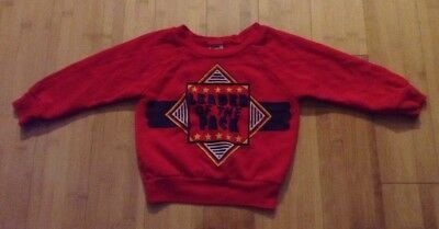 Vtg 80s Boys Red Sweatshirt Sz 3T LEADER OF THE PACK Park Bench Kids G13