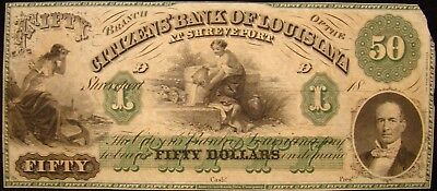 Citizens Bank Of Louisiana (Shreveport) $50.00 Note. Great Color, Unissued
