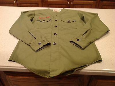 Vintage Boy Scouts Of America Green Long Sleeve Shirt No Collar Tagged Nice