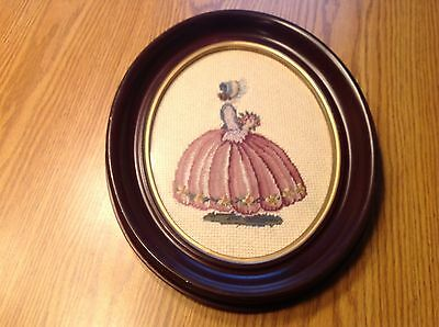 Antique Vintage Petit Point Needle Point Framed Victorian Lady/Girl Must See 2
