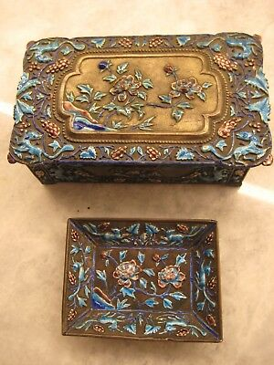 Antique Chinese Hand Painted Cloisonné Metal Enamel Hinged Repousse Box & Tray