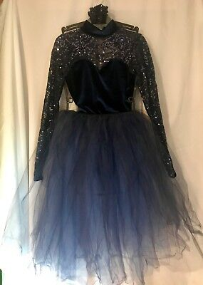 A Wish Come True Dance Lyrical Ballet Costume Navy Lace size Small  3 Piece