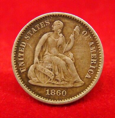 """1860 Dated Silver """"seated Liberty"""" Half Dime Found In Cs Camp Near Corinth Ms."""