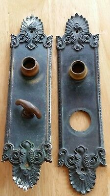 Pair Antique Victorian Heavy Solid Brass Door Knob Plates Yale & Towne