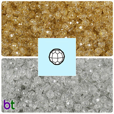 BeadTin Sparkle 4mm Faceted Round Craft Beads (1250pcs) - Color choice