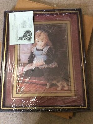 """Home Interior / Homco Picture """"puss In Boots"""" Little Girl And Cat Nib"""