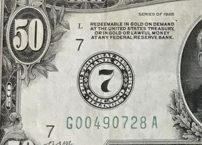 NUMERIC 7 1928 $50 FR-2100-G Federal Reserve Note - Redeemable In Gold On Demand