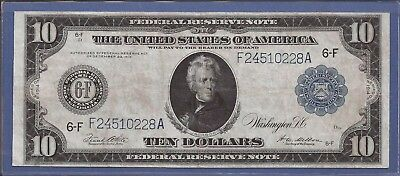 1914 $10 FRN,Blue Seal Large Note,6-F Atlanta,FR 927,circulated Very Fine,Nice!