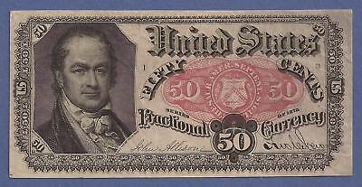 1874-1876 5th Issue 50¢ Fractional Currency,FR 1381,Crawford,CH Crisp VF,Nice!