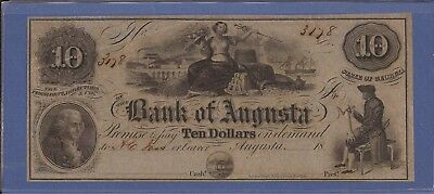 18XX $10 Obsolete Note,State of Georgia-Bank of Augusta,CH Crisp XF,Nice!