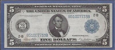 1914 $5 FRN,Blue Seal Large Note,2-B New York,FR 851a,circulated Choice VF,Nice!
