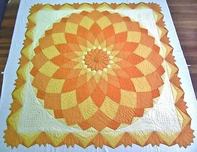 "Antique 1940's Handmade Hand Stitched Large Dresden Plate Quilt - 78"" x 78"""