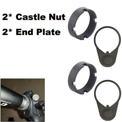 2Sets Lock Ring Castle Nut For .223 5.56 Stock /& Dual Loop Sling End Plate Mount