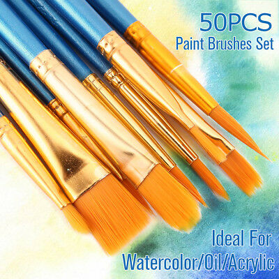 50XArtist Paint Brushes Set Kit Watercolour Acrylic Oil Painting Face Craft