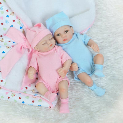 "10"" Reborn Dolls Lifelike Twins Doll Realistic Silicone Baby Boy Girl Xmas Gifts"