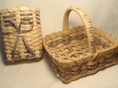 Hand Made Baskets Matching Set/2 Woven Lavender Color Signed & Dated