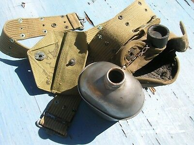 WWII US Army G.P.& F CO. Canteen 194?  Web Belt  ,Pouch And Carrier ALL TOGETHER