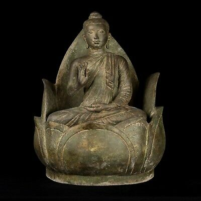 """Antique 19th Century Gandhara Seated Indian Protection Buddha Statue - 51cm/20"""""""