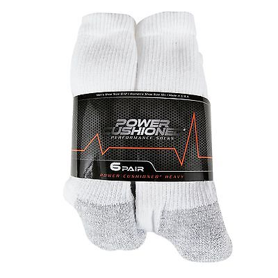6 Pack POWER CUSHIONED SOCKS WHITE MEN'S Large Made in USA