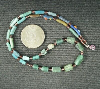 Ancient Roman Glass Beads 1 Medium Strand 100 -200 Bc 0974