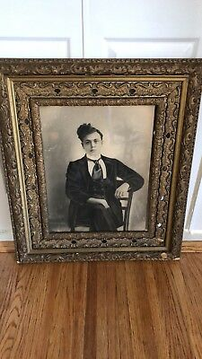 Early 20th Late 19th Century Charcoal Print In Antique Frame Portrait