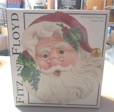 Fitz And Floyd Old Fashioned Christmas Canape Plate-Santa-In Box