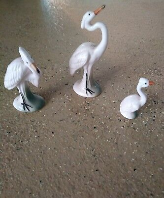 Set of 3 Vintage Bone China Pink  Flamingo Bird Family Figurines
