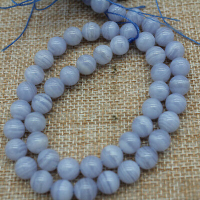 2018 Natural Chalcedony Blue Lace Agate Purple Round Beads 39-40cm 4/6/8/10/12mm