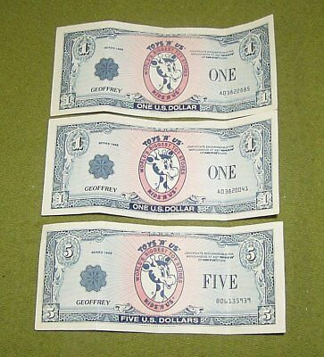 Collectible Toys R Us Geoffrey Money $7 Two Ones One Five $ Bill Series 1988