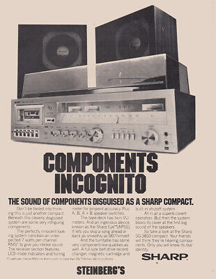 1979 Sharp SG3810 Stereo: Components Incognito Vintage Print Ad