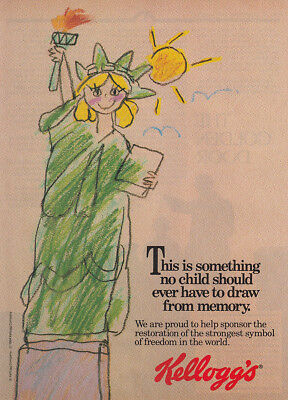 1984 Kelloggs: No Child Should Ever Have to Draw From Memory Vintage Print Ad