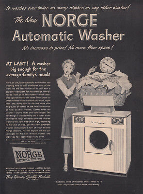 1949 Norge Automatic Washer: Big Enough for the Average Vintage Print Ad