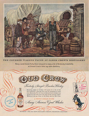 1952 Old Crow Whiskey: Covered Wagons Pause at James Crown Vintage Print Ad