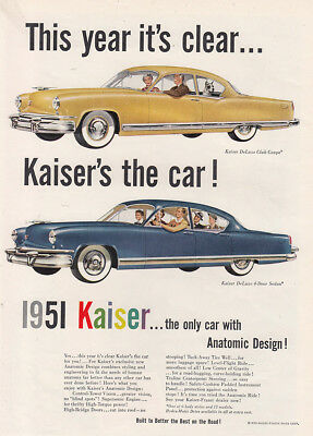1951 Kaiser: This Year Its Clear, Anatomic Design Vintage Print Ad