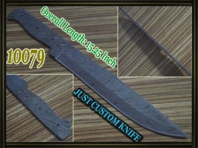 "15.25""Custom made Rare Damascus hunting blank blade knife making suppliers 10079"