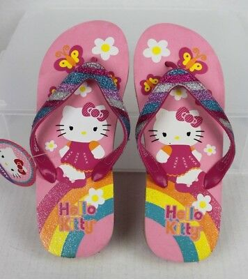 91a7943cff50c NWT Girls HELLO KITTY Themed Flip Flop Wedge Sandals Youth Size 4-5 Pink  Glitter