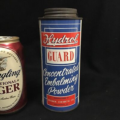 VTG HYDROL GUARD EMBALMING POWDER TIN CAN bottle funeral home mortuary tool pump