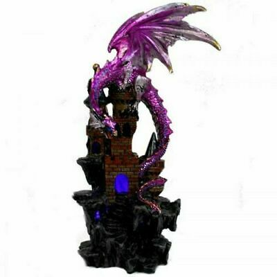 23 cm Dragon on Castle Statue with USB LED colour changing light