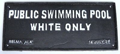 Cast Iron Black Americana Segregation Swimming Sign
